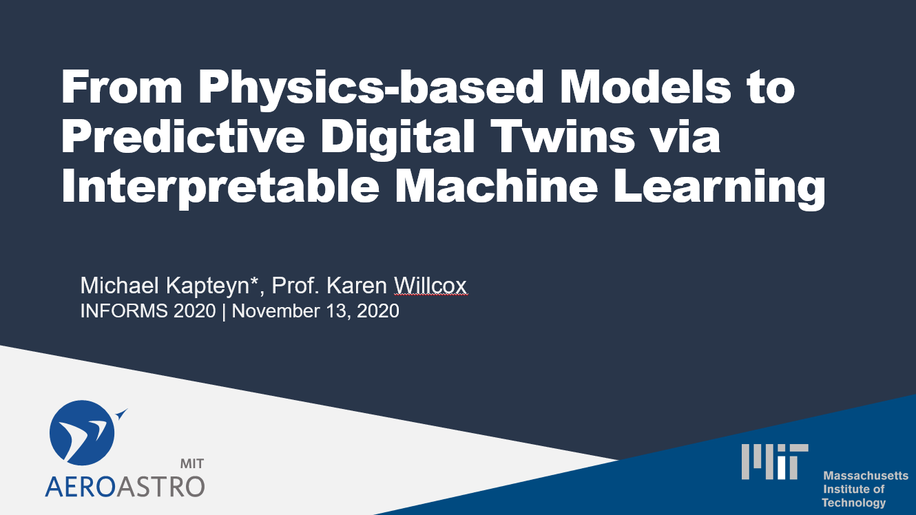 From Physics-based Models to Predictive Digital Twins via Interpretable Machine Learning (INFORMS 2020 Presentation)